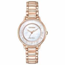 Citizen Eco-Drive Women's EM0382-86D Diamond Markers Rose Gold Dress 30mm Watch