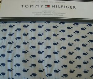 New Tommy Hilfiger 4 Piece QUEEN Sheet Set White Grey Stripes with Tiny Whales