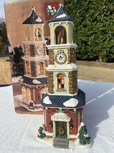 Mervyn's Christmas Village Square LIGHTED CLOCK TOWER Vintage 2000 in Box
