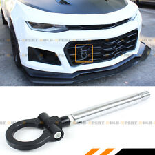FOR 16-19 CHEVY CAMARO LS LT SS CHROME BLK BUMPER FOLDING RING SCREW ON TOW HOOK