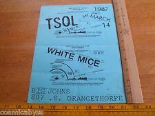 80's ORIGINAL Punk Rock concert poster TSOL White Mice Big Johns CA
