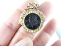 Antique Sard Onyx Intaglio Spinner Locket Watch Fob on bracelet TRI COLOR GOLD