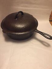 Vintage Chicago Hardware Hammered Cast Iron Extra Deep Skillet Chicken Pan & Lid