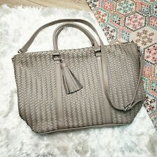 New Deux Lux Anthropologie Woven Leather Weekender Bag Purse Crossbody Gray