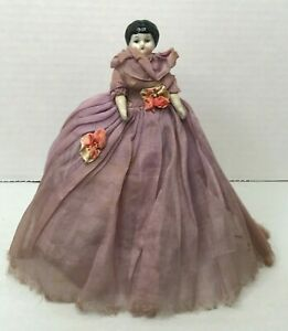 "ANTIQUE GERMAN China Shoulder Head Arms Legs Original Clothes 7"" DOLLHOUSE DOLL"