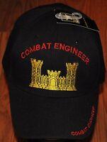 New Black Combat Engineer US Army Hat Ball Cap Veteran Military
