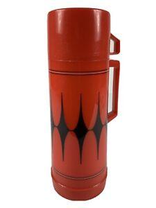 "Vintage Aladdin's Quart Thermos Red Diamond Design Made In The USA 12"""