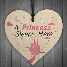 Princess Sleeps Here Hanging Heart Baby Daughter Bedroom Plaque Girl Door Sign