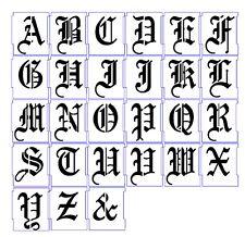 Letra Del Alfabeto Stencil Airbrush Stencils Plantillas 25 mm caligrafía ingleses antiguos