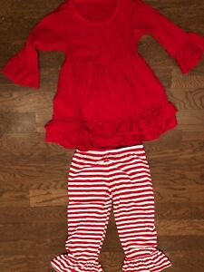 Girls / Toddler  Christmas Outfit Size 18 month - Red and White Stripe - New
