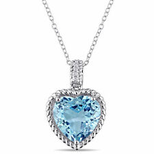 Amour Sterling Silver Blue Topaz and Diamond Heart Necklace