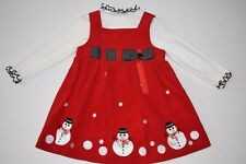 Bonnie Baby girls Christmas red corduroy snowman dress sz 24m holiday winter
