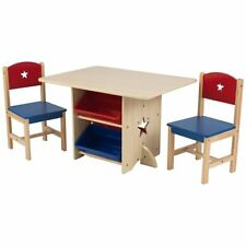 Wooden Star Play Table and 2 Chairs Set With 4 Storage Boxes Children's Nursery