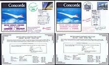 28.5.83 TWO BA CONCORDE FLT Capt B.WALPOLE SIGNED COVERS_LON - BELFAST - PARIS_R