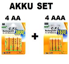 SET 4X AA + 4X AAA wiederaufladbar h NI-MH Batterie Accu Akku 8 Stück SET