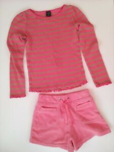 Baby Gap Girls L/S Striped Fancy Pink/Brown Tee Shirt & Pink Terry Shorts 4/5