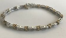 "10k White & Yellow Gold Dia Tennis Ladies Braclet 7.5"" Long 13.5 Grams X Design"