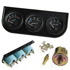 52mm Triple kit Oil Temp Gauge Water Temp Gauge Temperature Oil Pressure DC 12V