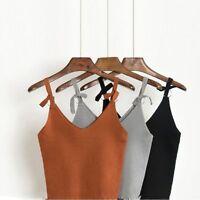 Women Sexy Spaghetti Strap Vest Knit Crochet Cami Tank T Shirt Blouse Crop Tops