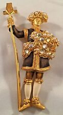 RARE large EXQUISITE COUTURE KARL LAGERFELD GILT pearl ENAMEL solider BROOCH pin