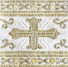 3 Yards. Religious, Vestment Trim. White & Gold. Metallic Jacquard. Chasuble