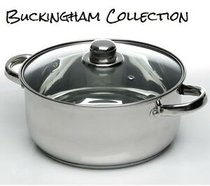 24cm/6L Induction Casserole Dish Vented Glass Lid Stainless Steel Stock Pot Pan