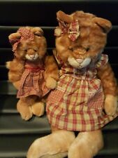 Rare Vintage Russ Berrie Co Kittra Orange Tabby Cat and Kitten Plush