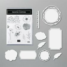 NEW Stampin Up PAINTED POPPIES cling rubber STAMPS & PAINTED LABELS DIES Bundle