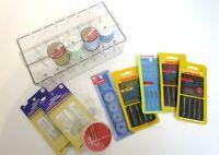 Singer Machine Needles Bobbins Thread Hand Needles Sewing Box Lot 16 + Pieces