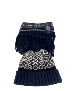 RECENT Drakes London Lambswool Knit Scarf/Hat Navy Blue Fair Isle Woven Flannel