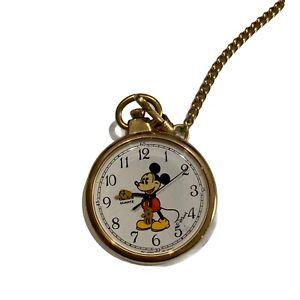 Vintage Lorus Mickey Mouse #V501-0A00 Gold Tone Quartz Pocket Watch W/ Chain