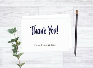 10 Personalised Thank You Cards & Envelopes