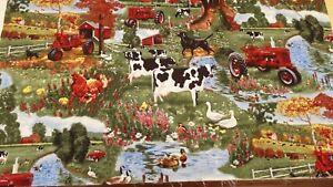Remnant  100% Cotton Fabric Farm Yard Animals Design Fabric W 56 cm x L 30 cm