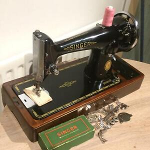 Beautiful Vintage Singer 201, 201K4 hand crank sewing machine with attachments