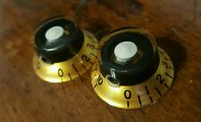 2 Guitar Set Screw Top Hat Volume/Tone knobs... Gold/Black/White...  JAT C.G.P
