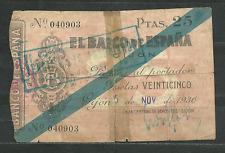 BILLETE DE 25 PTAS. 1936. GIJÓN.  CAJA CENTRAL DE DEPÓSITOS. GUERRA CIVIL.