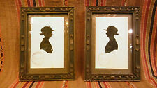 Antique pair of Italian silhouettes Two ladies women carved wood frame