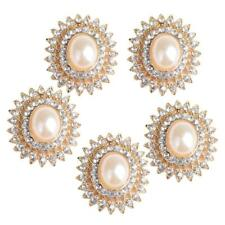 5x Alloy Rhinestone Pearl Buttons Embellishment for DIY Jewelry Craft 29mm
