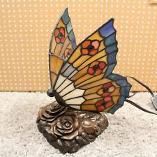 Quoizel Butterfly Accent Lamp Tiffany Style Stained Glass Table Light Handmade