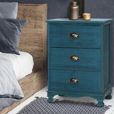 Artiss Bedside Tables Drawers Side Table Cabinet Vintage Blue Storage Nightstand