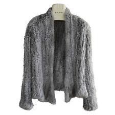 Women 100 Genuine Real Rabbit Fur Knitted Outerwear Coat Jacket M (bust Size 90-100cm) Khaki