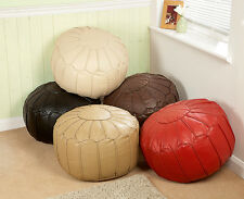 Luxury Faux Round Leather Piped Moroccan Style Bean Footstool Footrest Pouffes