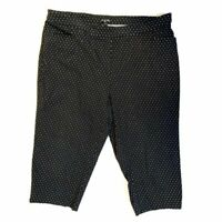 George Plus Size 3X Capris Black and White Polka Dot Pull On Stretch