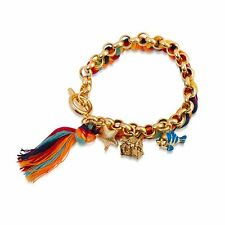 DISNEY 14K YG Plated Ariel Bracelet with Charms and Coloured Cord $99.00 RRP