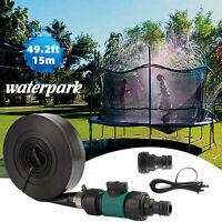 49ft Trampoline Sprinkler Spray Waterpark Game Fun Summer Kids Play Toy Backyard