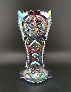LE Smith Heritage Black Amethyst Carnival Glass Comet In The Stars Sawtooth Vase