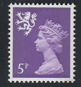 Scotland. S20. 5p reddish-violet. XS42. Fluorescent paper variety. MNH. Cat £18.