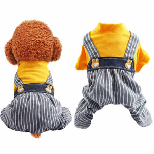 Spring Summer Pet Dog Jumpsuit Clothes Cute Rabbit Striped Puppy Cat Overalls