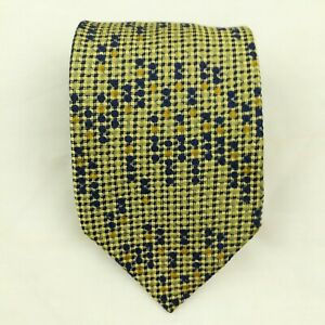 Canali Silk Gold Blue Geometric Circles Dotted Textured Neck Tie 59.5L 3.5W