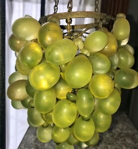 Vintage Art Nouveau Murano (?) Green Glass Grape Cluster Uranium Chandelier